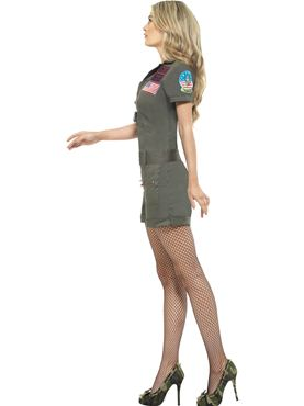 Adult Ladies Top Gun Aviator Costume - Back View