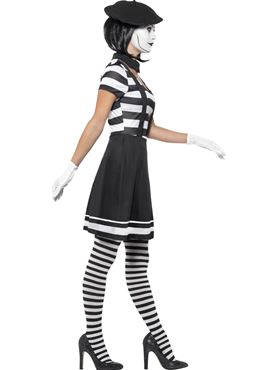Adult Lady Mime Artist Costume - Back View
