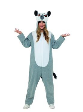 Adult Lemur Onesie Costume - Back View