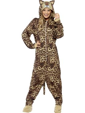 Adult Leopard Onesie Costume - Back View
