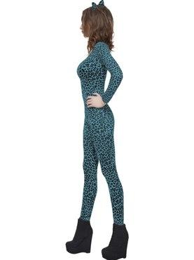 Adult Leopard Print Blue Bodysuit - Back View
