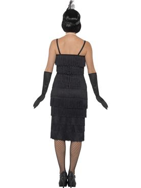 Adult Long Black Flapper Costume - Side View