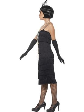 Adult Long Black Flapper Costume - Back View