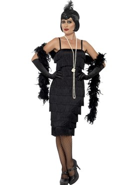 Adult Long Black Flapper Costume