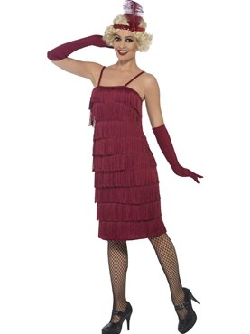 Adult Long Burgundy Flapper Costume