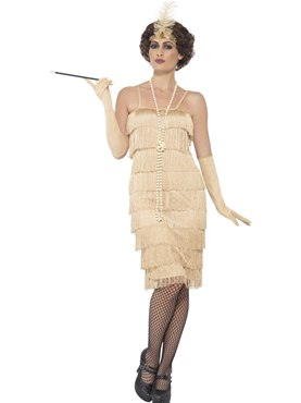 Adult Long Gold Flapper Costume