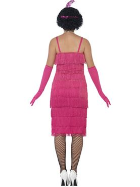 Adult Long Pink Flapper Costume - Side View