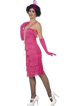 Adult Long Pink Flapper Costume - Back View
