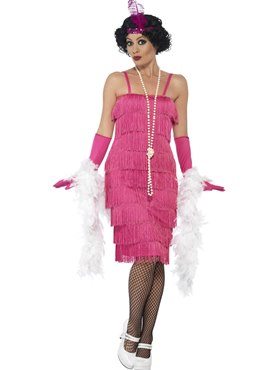 Adult Long Pink Flapper Costume