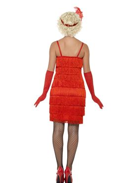 Adult Long Red Flapper Costume - Side View
