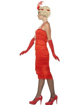 Adult Long Red Flapper Costume - Back View