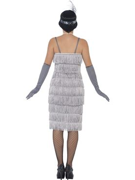 Adult Long Silver Flapper Costume - Side View