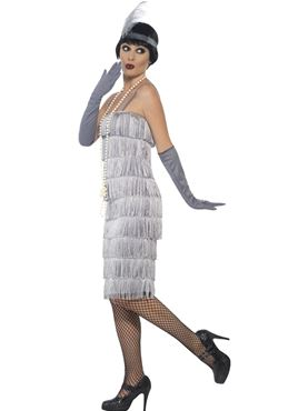 Adult Long Silver Flapper Costume - Back View