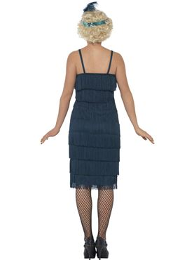 Adult Long Teal Flapper Costume - Side View