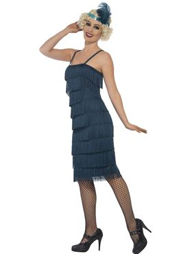 Adult Long Teal Flapper Costume - Back View