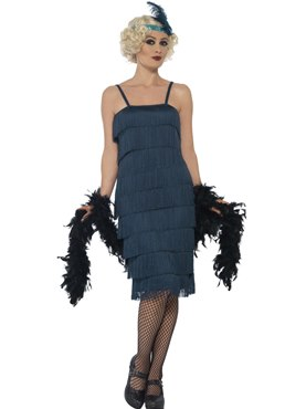 Adult Long Teal Flapper Costume