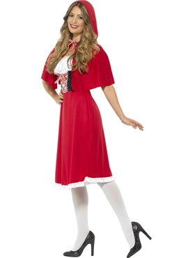 Adult Longer Length Red Riding Hood Costume - Back View