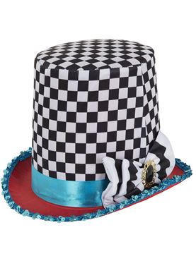 Adult Mad Hatter Check Top Hat