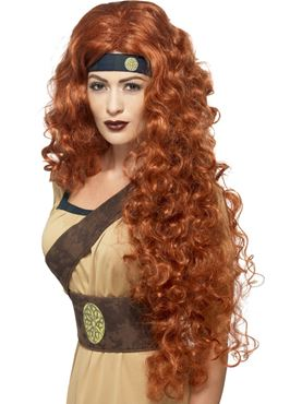 Adult Medieval Warrior Queen Auburn Wig