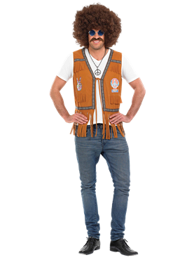 Adult Mens 60's Hippie Fringed Waistcoat Couples Costume