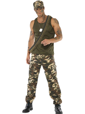 Adult Mens Khaki Camo Army Costume Couples Costume