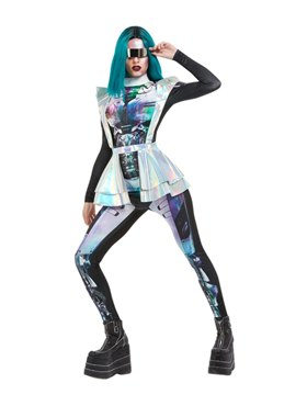 Adult Metallic Space Alien Costume - Back View