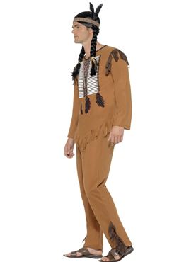 Adult Native Western Warrior Costume - Back View