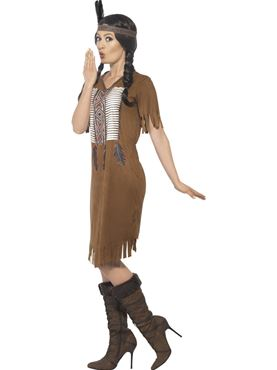 Adult Native Western Warrior Princess Costume - Back View