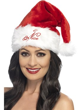 Adult Naughty or Nice Santa Hat