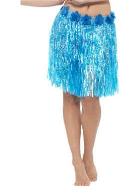 Adult Neon Blue Hawaiian Hula Skirt