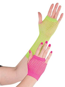 Adult Neon Fishnet Gloves