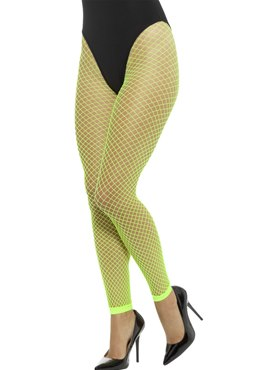 Adult Neon Green Footless Fishnet Tights