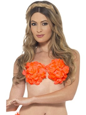 Adult Neon Orange Hawaiian Bra