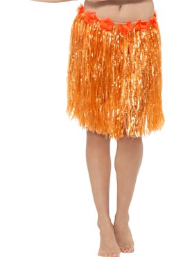 Adult Neon Orange Hawaiian Hula Skirt