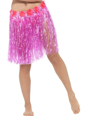Adult Neon Pink Hawaiian Hula Skirt