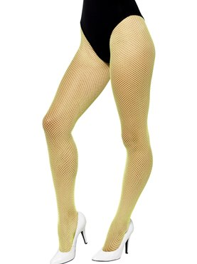 Adult Neon Yellow Fishnet Tights