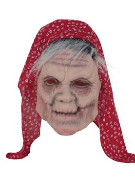 Adult Old Lady Mask with Headscarf
