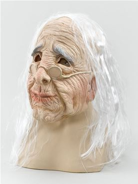 Adult Old Woman Mask with Hair