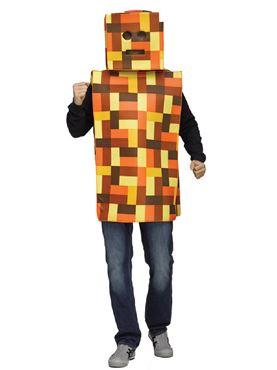 Adult Orange Pixel Robot Costume