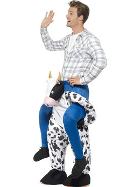 Adult Piggy Back Cow Costume - Back View