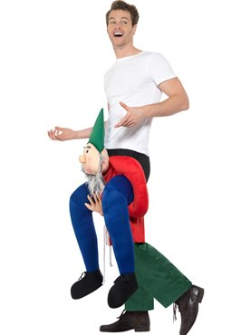 Adult Piggy Back Gnome Costume - Back View
