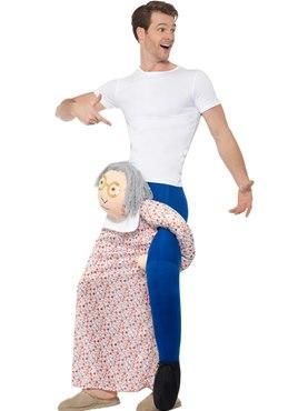 Adult Piggy Back Grandma Costume - Back View