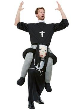 Adult Piggyback Nun Costume - Back View