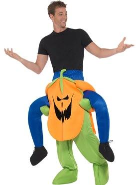 Adult Piggy Back Pumpkin Costume - Back View