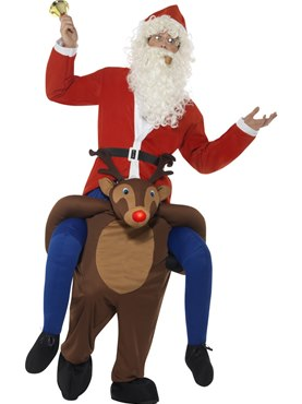 Adult Piggyback Reindeer Rudolf Costume Couples Costume