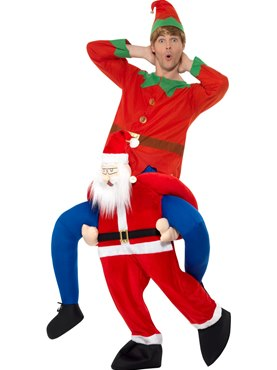 Adult Piggy Back Santa Costume - Back View