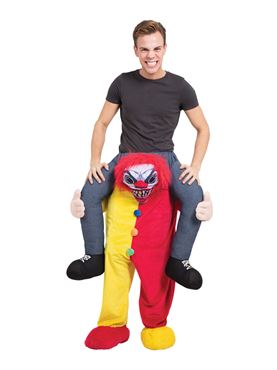Adult Piggy Back Scary Clown Costume Couples Costume