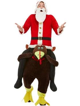 Adult Piggyback Turkey Costume - Back View