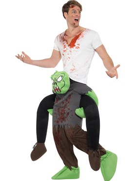 Adult Piggy Back Zombie Costume - Back View