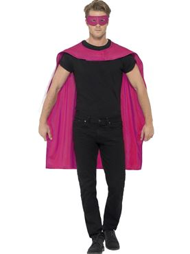 Adult Pink Cape & Eye Mask Set - Back View